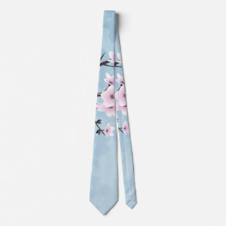 Blumenkirschblüten-düsteres rosa hellblaues bedruckte krawatten