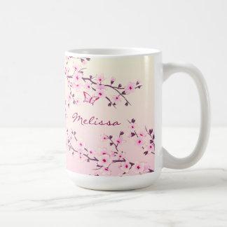 Blumenkirschblüten-Monogramm Kaffeetasse