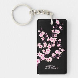 Blumenkirschblüten-Monogramm Schlüsselanhänger