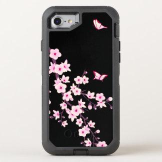 Blumenkirschblüten-Rosa-Schwarzes OtterBox Defender iPhone 8/7 Hülle
