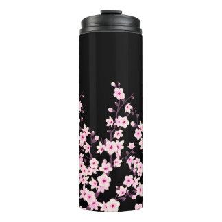 Blumenkirschblüten-Rosa-Schwarzes Thermosbecher