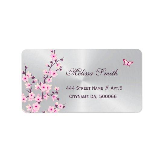 Blumenkirschblüten-rosa Silber Adress Aufkleber