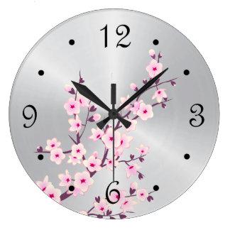 Blumenkirschblüten-rosa Silber Große Wanduhr