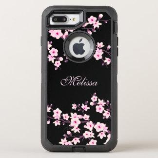 Blumenkirschblüten-Schwarz-Rosa-Monogramm OtterBox Defender iPhone 8 Plus/7 Plus Hülle