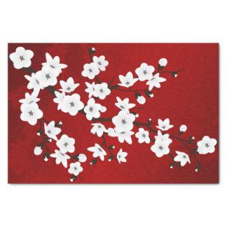Blumenkirschblüten-Schwarz-rotes Weiß Seidenpapier