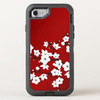 Blumenkirschblüten-Schwarz-weißes Rot OtterBox Defender iPhone 8/7 Hülle