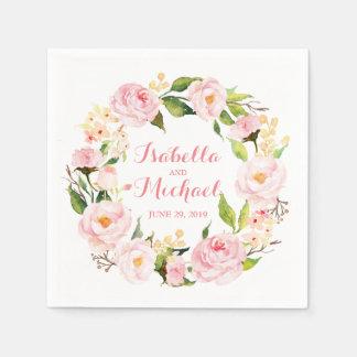 BlumenKranz-Aquarell-Hochzeit Papierserviette