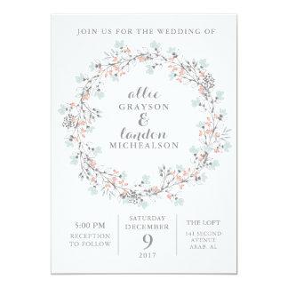 BlumenKranz-Aquarell-Hochzeits-Einladung Karte