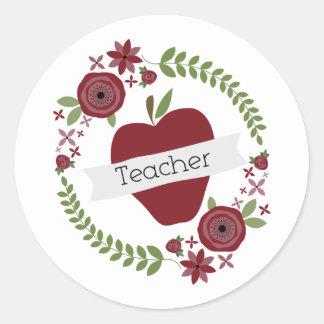 BlumenKranz u roter Apple-Lehrer Runde Aufkleber