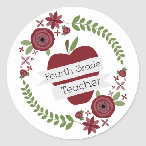 BlumenKranz u. roter vierter Grad-Lehrer Apples Runde Aufkleber