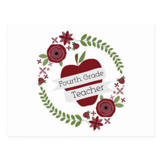 BlumenKranz u. roter vierter Grad-Lehrer Apples Postkarten