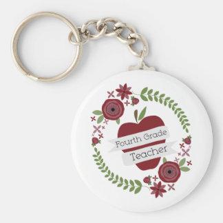 BlumenKranz u roter vierter Grad-Lehrer Apples Schlüsselbänder