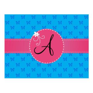 Blumenkreis der blauen Schmetterlinge des Monogram Postkarten