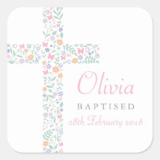 Blumenkreuz des Taufe-Bevorzugungs-Aufkleber-| Quadrat-Aufkleber