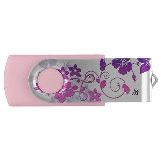 Blumenkunst-Monogramm-Rosa-Schwenker USB Stick