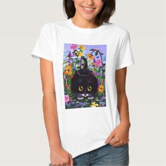 Blumenkunst-Schwarzestuxedo-Katzen-Blumen Hemd