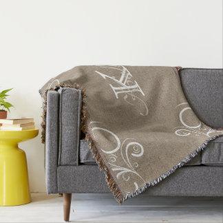 Blumenleinwand-Monogramm-Wurfs-Decke Decke