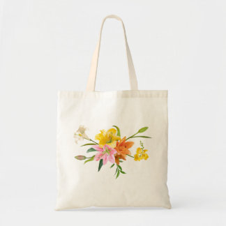 Blumenlilien-Blumen - rosa, orange, gelbes Weiß Tragetasche