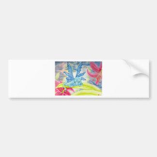 Blumenlilien-Sturmblitz des Babyblau-Drachen Autoaufkleber