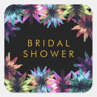 Blumenlotos-Blumewatercolor-Brautparty Quadratischer Aufkleber