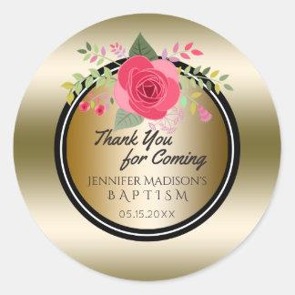 Blumenmädchen-Taufe danken Ihnen | Goldtaufe Runder Aufkleber