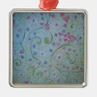 Blumenmagie der Liebe- und Schaffungsskizze Silbernes Ornament