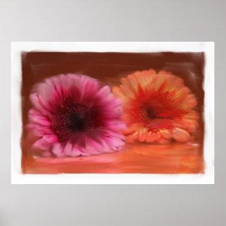 Blumenmalerei auf Leinwand Posterdruck
