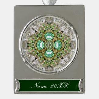 BlumenMandala, die Smaragdgrün Rhinestone bling Banner-Ornament Silber