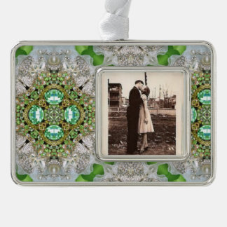 BlumenMandala, die Smaragdgrün Rhinestone bling Rahmen-Ornament Silber