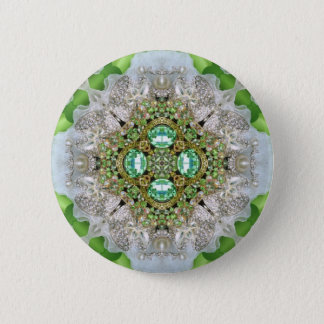 BlumenMandala, die Smaragdgrün Rhinestone bling Runder Button 5,7 Cm