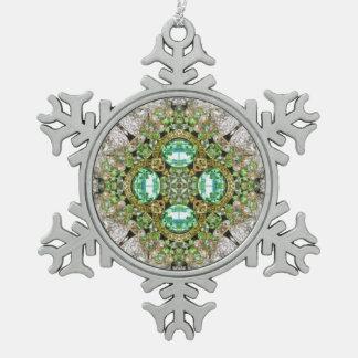 BlumenMandala, die Smaragdgrün Rhinestone bling Schneeflocken Zinn-Ornament