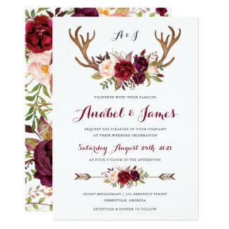 BlumenMarsala Geweih Boho Hochzeits-Einladung Karte