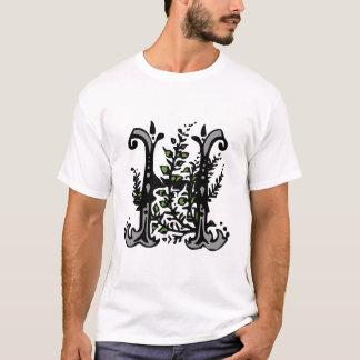 Blumenmonogramm-Buchstabe H T-Shirt