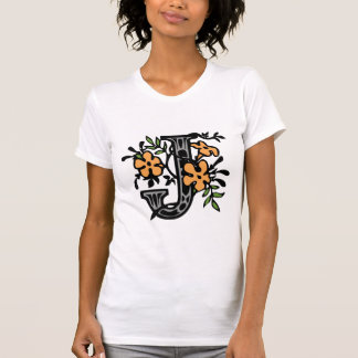 Blumenmonogramm-Buchstabe J T-Shirt