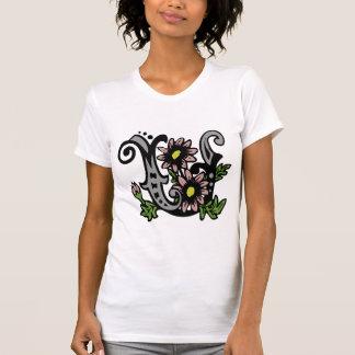 Blumenmonogramm-Buchstabe U T-Shirt