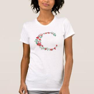 Blumenmonogramm des buchstabe-C T-Shirt