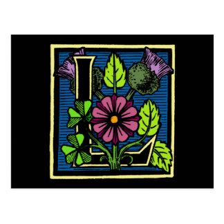 Blumenmonogramm L Postkarte
