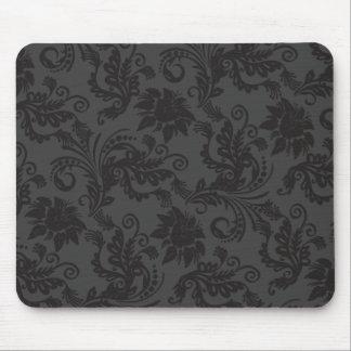 Blumenmotiv-Guipurespitzen-Schwarzes Mousepad