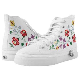 Blumenmotive vom kalocsa hoch-geschnittene sneaker