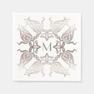 Blumenmuster der barocken Art. Monogramm Serviette