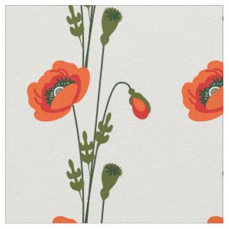 Blumenmuster der roten Mohnblume Stoff