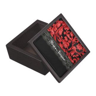 Blumenmuster der schwarzen u. roten Spitzes Schmuckkiste