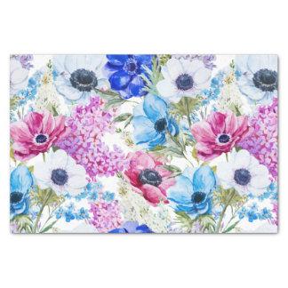 Blumenmuster des blauen lila handgemalten seidenpapier