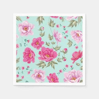Blumenmuster des Vintagen rosa aquamarinen Papierservietten