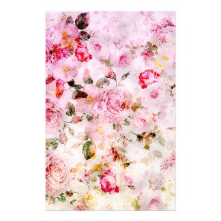 Blumenmuster des Vintagen rosa Pastellwatercolor Personalisiertes Büropapier