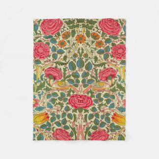 Blumenmuster des Vintagen Rosen-Chintzs Fleecedecke