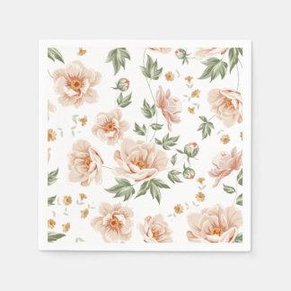 Blumenmuster des Vintagen sahnigen orange Papierservietten