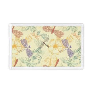 Blumenmuster im Vintagen Artlibellenlaub Acryl Tablett