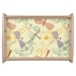 Blumenmuster im Vintagen Artlibellenlaub Tablett