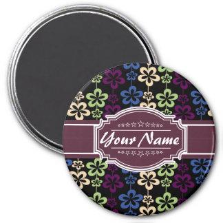 Blumenmuster mit Pflaumen-individuellem Namen Runder Magnet 7,6 Cm